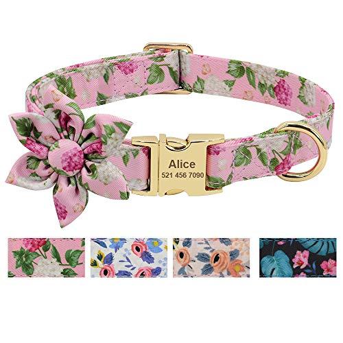 Beirui Collar de perro de niña de flores personalizado para perros femeninos- Collares de mascota grabados con hebilla dorada personalizada (patrón rosa, S)