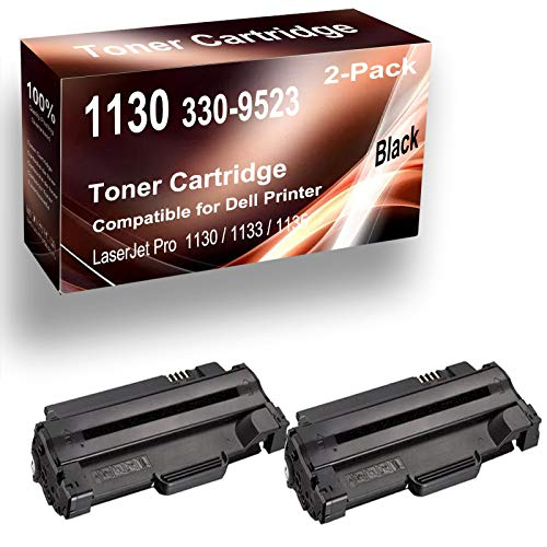 2-Pack (Black) Compatible 1130/3309523 Laser Printer Cartridge to Used for Dell 1130 1133 1135, Printer Toner