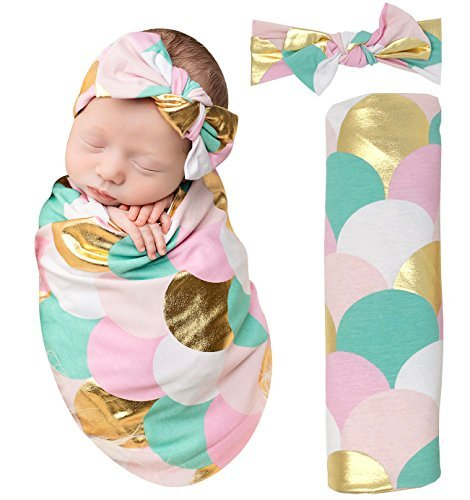 Posh Peanut Mermaid Baby Swaddle Blanket - Large Premium Knit Baby Swaddling Receiving Blanket and Headband Set, Baby Shower Newborn Gift (Gold Scales)