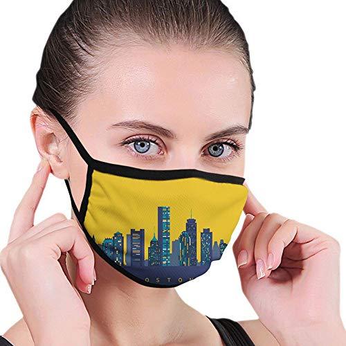 Bequeme Winddichte Maske, ikonische Gebäude Flache Stadtillustration und Eigelb-Farbhimmel