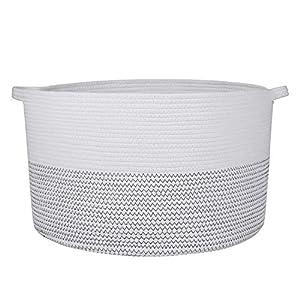 XXXL Cotton Rope Storage Basket 21.7″x21.7″x13.7″- Toy's Organizer Basket with Handles, Woven Baby Diaper Nursery Hamper, Laundry Storage Bins Home Decor Blankets Pillows and Cushions