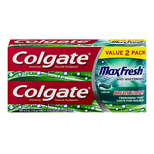 Colgate Max Fresh Toothpaste with Mini Breath Strips - Clean Mint - 6oz/2pk
