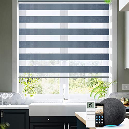 Yoolax Motorized Blinds for Windows with Remote Control, Smart Zebra Blinds Works with Alexa, Dual Layer Sheer Shade and Light Filtering Window Shade Customized Size for Home Office (Grey)