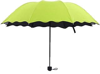 JOYS CLOTHING 波立たせられた水、開花、日焼け止め、傘、黒い接着剤、極度の日焼け止め、日傘、創造的な三重の傘 (Color : Mint green)
