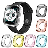 AFUNTA 6 Pcs Watch Screen Protective Case Compatible Apple Watch Series 5 Series 4, 40mm All Around TPU Bumper Waterproof Cover Compatible New iWatch Series 5 4 – 6 Colors