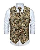 Mens Gold Paisley Vest Tie Set 3 Pcs Jacquard Classic Necktie & Pocket Square Waistcoat for Suit or Tuxedo Wedding Party