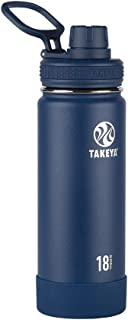 Takeya 51064 Actives Insulated Stainless Steel Water Bottle with Spout Lid, 18 oz, Midnight