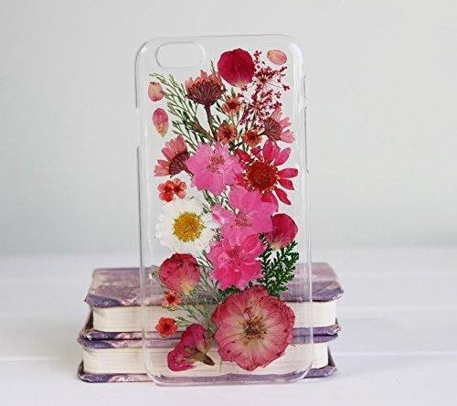 Funda para Samsung Galaxy S5, diseño floral S5 con flores reales para Samsung S5 Art Pressed Floral Galaxy S5, carcasa rígida transparente con pétalos de flores para mujer
