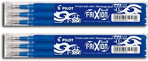 Pilot Frixion–Recambios para Bolígrafo borrable, 2x3 Set, azul, 1