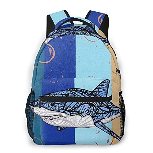 Mochila de impresión de tiburón azul portátil impermeable antirrobo mochila casual bolsa USB puerto de carga mochila unisex