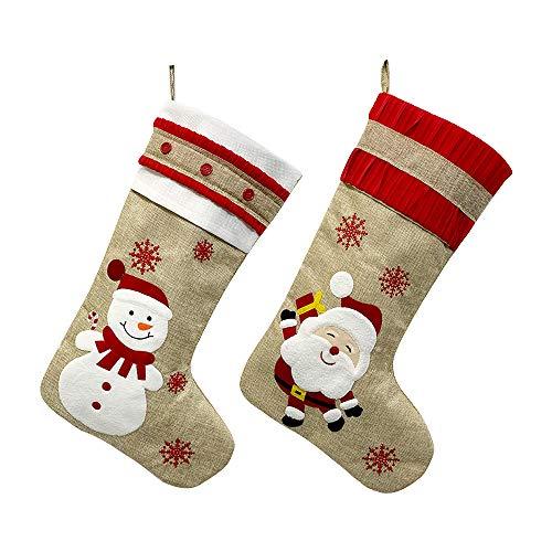 """Medias de Navidad Juego de 2 Bolsa de regalo para colgar de 18 """"Medias de Navidad grandes de muñeco de nieve Patrón de Papá Noel Saco de calcetines de Navidad grande Calcetín Fiesta personalizada"""