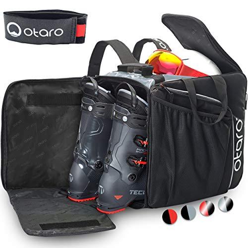 Otaro ® Premium Skischuhtasche mit Helmfach (PRO: Grau/Schwarz)
