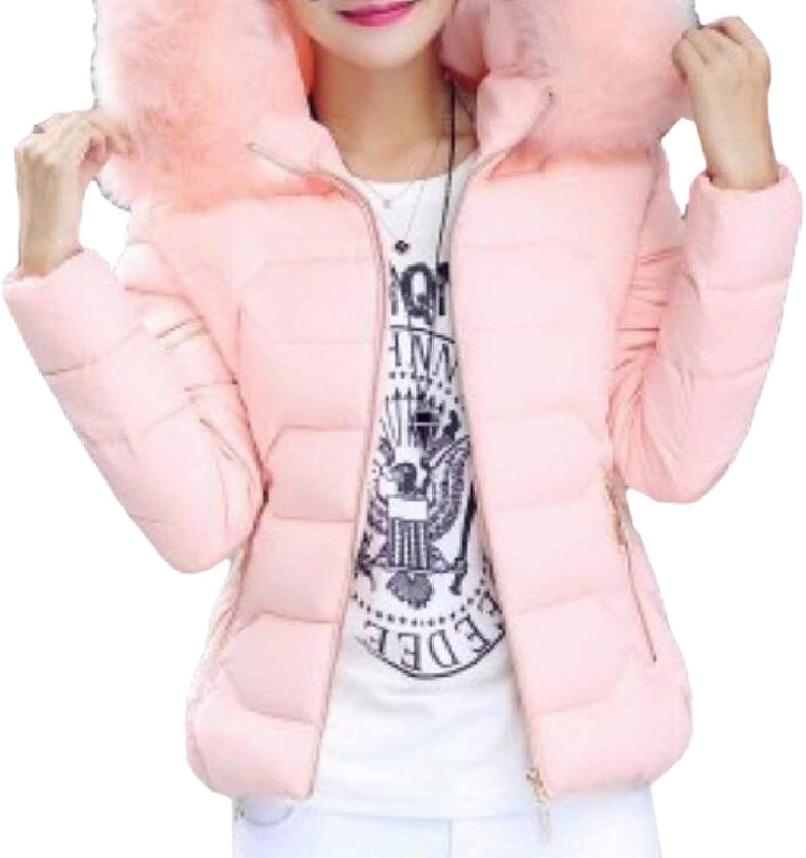 PujinggeCA Womens Outwear Faux Fur Hooded Trim Fashion Cotton Wadded Jacket
