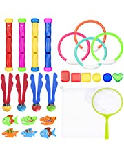 Tomaibaby 26PCS Diving Pool Toys, Underwater Swimming Pool Toy Set Summer Fun Swimming Pool Toys with Mesh Storage Bag for Kids (Random Color)