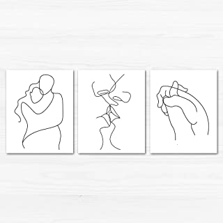 Gronda Black and White Poster Lovers Unframed Couple Kiss Hugs Line Drawings Painting Wall Art Prints for Bedroom Bathroom Living Room 8x10 Inch, 3 Panels