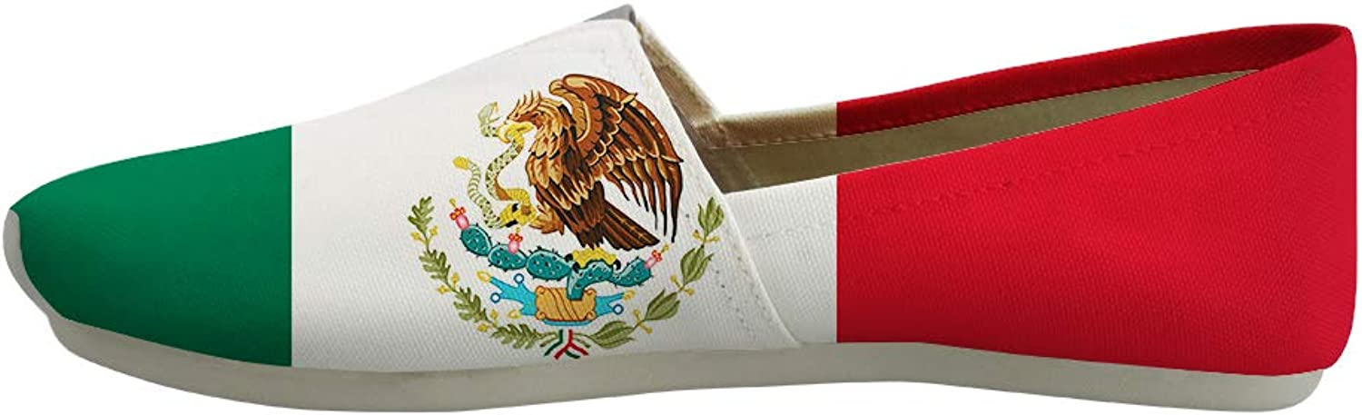 Owaheson Classic Canvas Slip-On Lightweight Driving shoes Soft Penny Loafers Men Women Mexico Flag