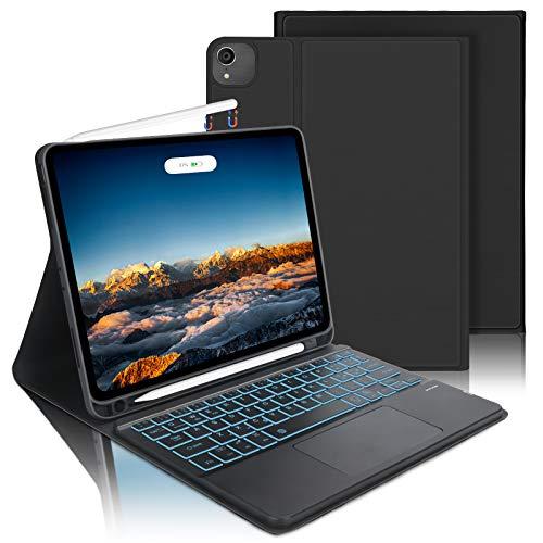 AVNICUD Custodia Tastiera con Trackpad per Novità iPad Air 10.9 2020(4a Generazione), iPad Pro 11 2020/2018, Bluetooth Italiana Tastiera QWERTY Retroilluminata a 7 Colori con Touchpad e Portamatite
