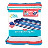 """SUNSMART Adult Beach Towel Pillow with Inflatable Pillow, 72"""" Long, Adults, Navy/Coral/White Stripe"""