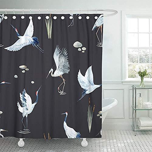 Bad gordijn vogel aquarel patroon rode koppen kraan de plant riet egret zwart japanse japanse moderne badkamer waterdicht met haken badkamer gordijn douche gordijn verstelbare ba