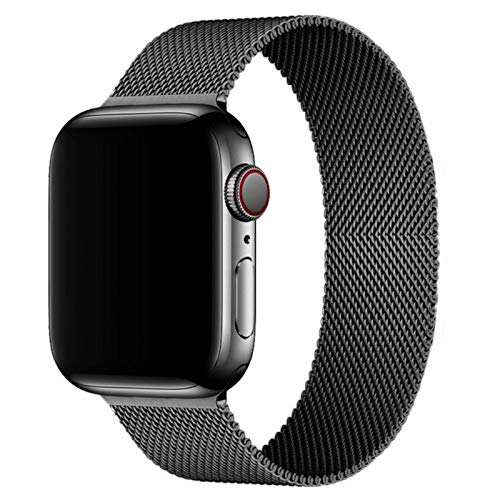 Compatible for Apple Watch Band ,Stainless Steel Magnetic Absorption Strap Metal Mesh Wristband Sport Loop for Aple Watch 38 mm 40mm 42 mm 44mm Series 6/SE/5/4/3/2/1 (Black,38MM/40MM)