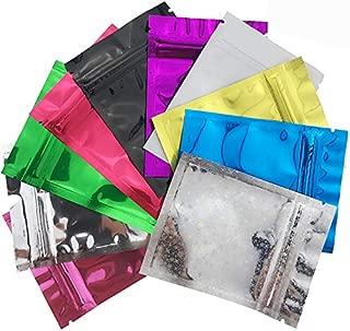 Wankko 100 Pcs Premium Smell Proof FDA Approved Food Safe Double-Sided Color Mylar Foil Flat Heat Sealable Sample Ziplock Bag 7.5x10cm