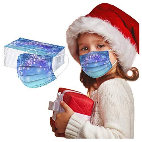 ZHX 50 Stück 3-lagig Erwachsenenmäske mit Weihnachten Motiv Mund und Nasenschutz,Einweg-Gesichtsabdeckung Staubdich Outdoor Mundschutz Halstuch für Kinder (H)