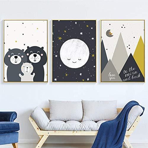 Oso bebé animal lienzo impresión luna guardería pared arte pintura citas impresión cartel nórdico cuadro de pared bebé niños habitación decoración 50x70cmx3 sin marco