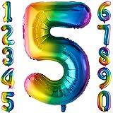 Globos gigantes de 100 cm, con número 5 de Mylar, helio, para regalo, decoración de unicornio, cumpleaños, fiesta de cumpleaños para niñas y niños