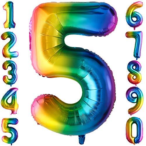 100CM Riesen Regenbogen Zahl 5 Folien Luftballons Number Mylar Helium Zahlenballon Hochzeit Geschenk-Deko Einhorn Geburtstag Party Dekoration für Mädchen Junge