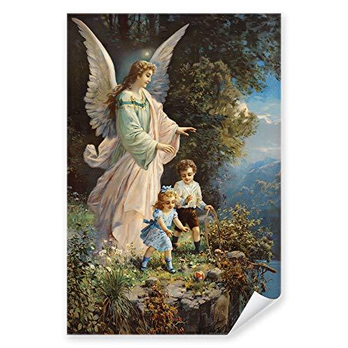 Postereck - 0152 - Schutzengel, Kinder Altes Gemälde Engel Religion - Kunst Wandposter Fotoposter Bilder Wandbild Wandbilder - Poster - DIN A4-21,0 cm x 29,7 cm