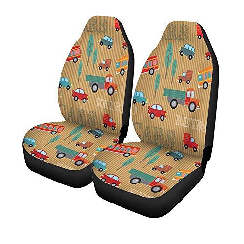 Beth-D set van 2 autostoelhoezen vrachtwagens bussen auto bomen in retro look op bruine opschriften universele auto front seat protector 14-17IN