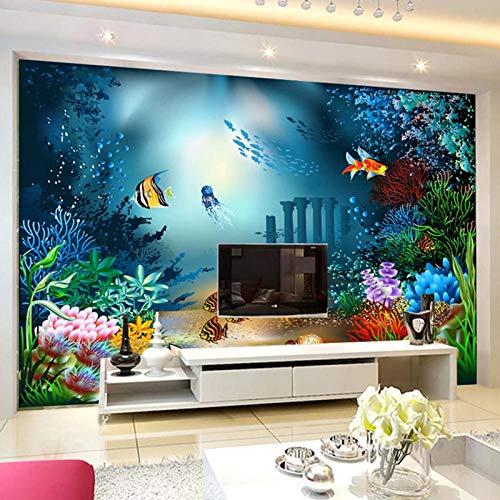 Papel pintado fotográfico personalizado 3D Dibujos animados mundo submarino foto pintura pared dormitorio infantil decoración de dibujos animados papel de pared para paredes 3 D-480320cm