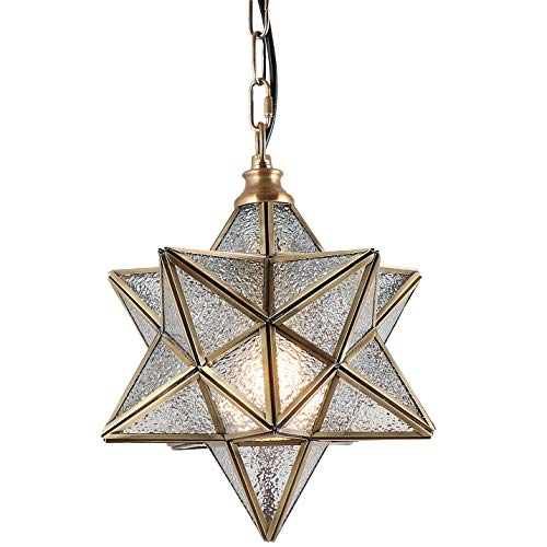Eumyviv Moravian Star Kitchen Island Pendant Light with Glass Cover, Modern Brass Frame Chandelier...