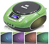 Lauson NXT964 Reproductor CD Portátil Luces LED Multicolor y Radio FM Digital y Pantalla LCD | Lector USB para Reproducir Música MP3 | CD Player con Salida de Auriculares y Altavoces (Verde)