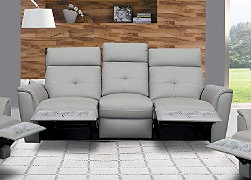 ESF 8501 Recliner Sofa Chic Light Grey Italian Leather Modern