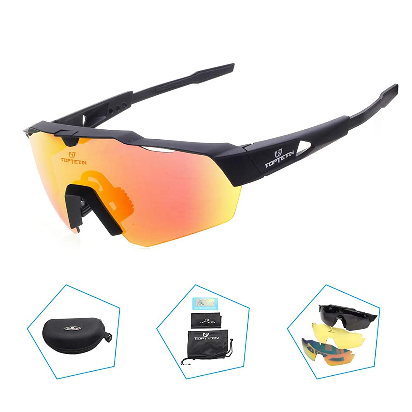 TOPTETN Polarized Sports Sunglasses with Interchangeable Lenes for Men Women Cycling Running Driving Fishing Golf Baseball Glasses hii4444993
