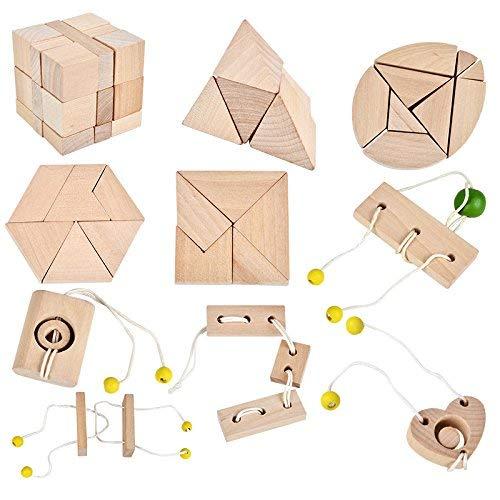 B&Julian 2er Sparpack IQ Puzzle 10 Mini Holz Puzzlespiel 3D Holzpuzzle Knobelspiele Geduldspiel Set Holzknoten Rätselspiel Geschicklichkeitsspiel Ideen Adventskalender Inhalt