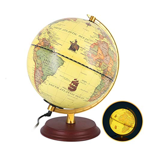 "Illuminated Wold Globe for Kids with Stand Night Light Built-in LED Light Earth Globe 8"" Geographic Globe with LED Light Illuminated Discovery Educational World Globe -Yellow"