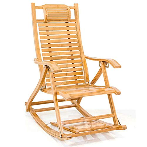 QTQHOME Foldable Wooden Rocking Chair,Bamboo Sun Lounger Chairs With Pillow,Adjustable Recliner With Foot Massage,Lazy Deck Lounge Chair-A 95x48x75cm(37x19x30inch)