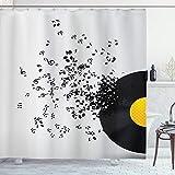 ABAKUHAUS Musik Duschvorhang, Flying Notes Album Tanz, mit 12 Ringe Set Wasserdicht Stielvoll Modern Farbfest & Schimmel Resistent, 175x180 cm, Gelb Schwarz & Elfenbein