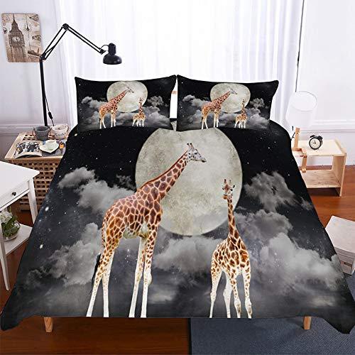 ZHOUBIN Set di Biancheria da Letto 3pcs Giraffa 3D Copripiumino con Chiusura a Zip per, Set copripiumini e federe-UK Super King 220x260CM