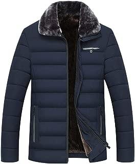 Men's Lightweight Down Jacket, Stand Faux Fur Collar Regular Fit Solid Warm Zipper Long Sleeve Coat Outwear