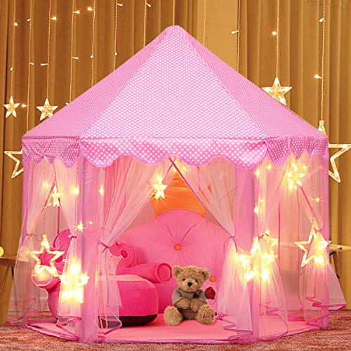 Play Tent, joylink Pink Hexagon Princess Castle House Palace Tents Kids Castle Playhouse with Star Lights for Indoor and Outdoor, Great Gift for Girls, 53'' x 55'' (DxH) (A)