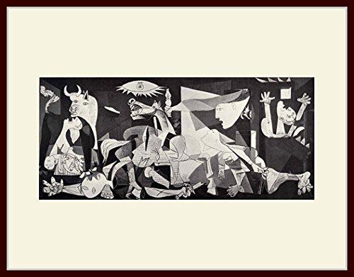 ピカソ・「ゲルニカ」 プリキャンバス複製画・ 額付き(デッサン額/大衣サイズ/セピア色)