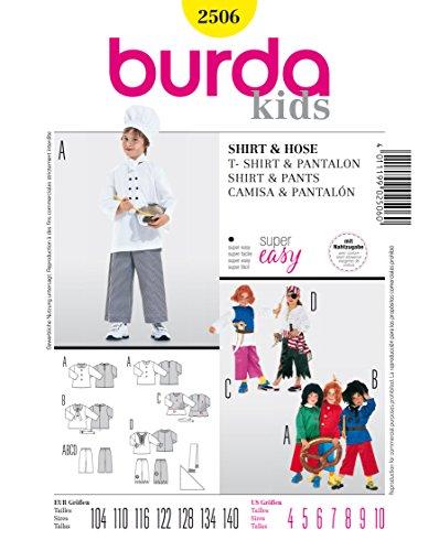 Burda 2506 Schnittmuster KostŸm Fasching Karneval Pirat Max & Moritz, Struwwelpeter (Kids, Gr, 104-140) Level 1 super Easy