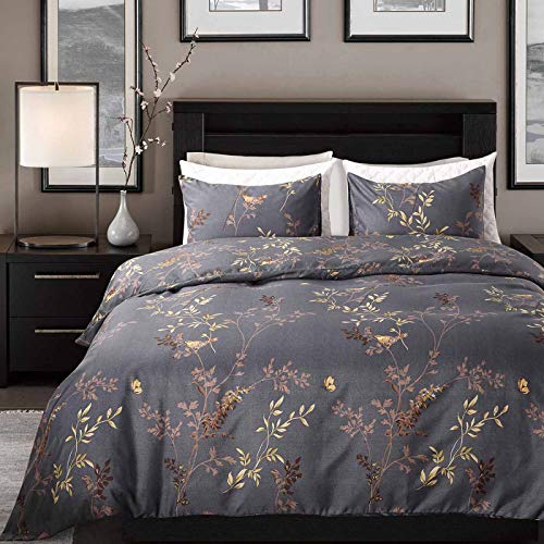 Cozyholy Luxury Royal style Duvet Cover Baroque Design Comforter Cover Vintage Bohemian Set Ultra Soft Zipper Colsure, 3 Pieces Bedding Set (Queen, Dark grey - luxury golden leaf pattern)