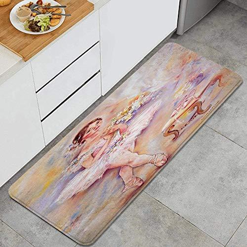 GEEVOSUN Chica en un Vestido de Baile Alfombrillas de Cocina Antideslizantes Felpudo Lavable Juego de Alfombras de Microfibra