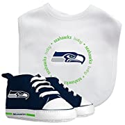 Officially licensed NFL product For ages 0-6 months 100% cotton front bib features an embroidered team logo & polyester backing to prevent spills on clothes Pre-walkers feature a soft fabric upper, white laces and Grippers on the bottom with padded s...
