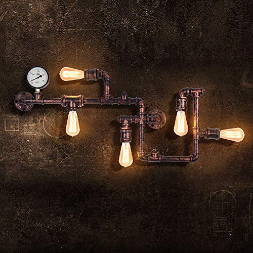 EDISLIVE Industrial Lámparas de pared Vintage Luces de pared Lámpara de montaje Tubo de agua Apliques de pared para Pub Cafe Hotel (rojo)