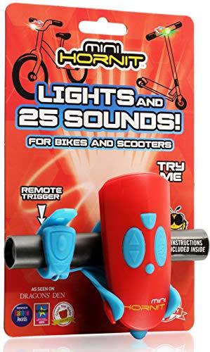 Mini Hornit Luce e campanello per bicicletta, luce LED bianca e verde, con 25 effetti sonori, per scooter e biciclette, Rosso/Blu